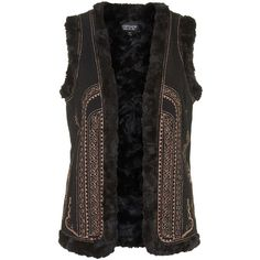 TOPSHOP Metallic Embroidered Gilet (4.855 RUB) ❤ liked on Polyvore featuring outerwear, vests, topshop, vest, black, black waistcoat, embroidered vest, metallic vest and faux fur lined vest