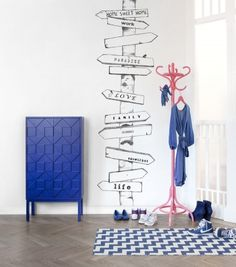 Wayfinder Mural (P130201-2) - Mr Perswall Wallpapers - A black and white image of a hand sketched sign post with life directions– perfect for an entrance hall perhaps. Total mural size 90cm wide and 265cm high. SAMPLES NOT AVAILABLE. Paste the wall