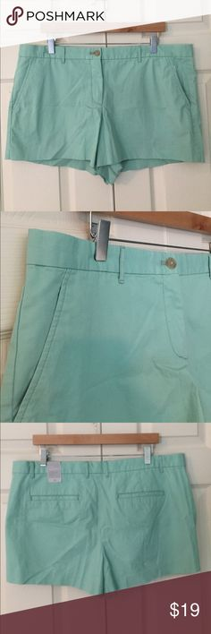 "GAP NWT Seafoam Green Chino Shorts soft washed new with tags seafoam green chino shorts from GAP. 100% cotton. size 16. waist flat is 19"", front rise is 10"", inseam is 3"". these are new with tags but please see last pic for faint mark with I assume is just shop wear from try on. 7E2117. GAP Shorts"