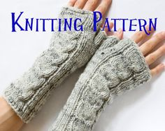 PDF Knitting Pattern - Cabled Fingerless Mittens, Cabled Fingerless Gloves, Arm Warmers. £3.00, via Etsy.