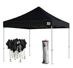 Eurmax Basic 10x10 Pop up Tent Instant Commercial Outdoor Canopy with Wheeled Carry Bag (Black)