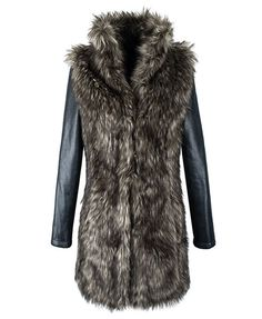 Longline Faux Fur Coat with Leather Sleeves