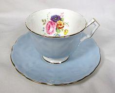 Elegant Aynsley Pastel Blue Crocus Shape Teacup Saucer Bone China Mint | eBay