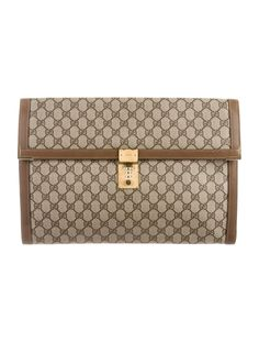 0f75be0eb3f9 Men's brown and tan GG Plus coated canvas Gucci Vintage portfolio with  gold-tone hardware