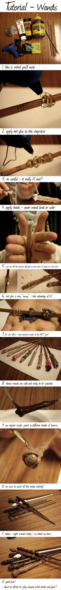 Harry Potter wands made using a hot glue gun, chopsticks and acrylic paint. ...this is SO COOL!