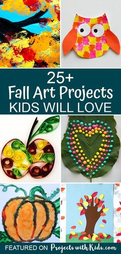 These fabulous fall art projects for kids will inspire creativity and fun! Click through to find fall tree ideas, art projects with fall leaves, pumpkins, animals and Thanksgiving Art Projects, Fall Art Projects, Craft Projects For Kids, Fall Arts And Crafts, Fall Crafts For Kids, Art For Kids, Fall Art Preschool, Fall Art For Toddlers, Autumn Art Ideas For Kids