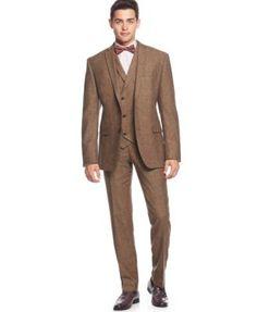 Bar III Brown Tweed Vested Slim-Fit Suit Separates | macys.com
