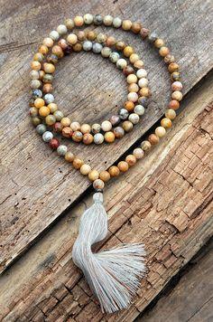 Beautiful jasper gemstone mala necklace - look4treasures on Etsy, $64.95