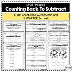 18 differentiated worksheets and 3 NO-PREP games for teaching counting back to subtract! Perfect for small groups, centers, and independent practice! Math Activities For Kids, Hands On Activities, Teaching Resources, Teaching Ideas, Creative Teaching, Classroom Resources, Teaching First Grade, First Grade Math, Second Grade