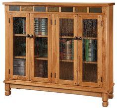 Rustic Oak Sedona Bookcase in Rustic Medium Oak Finish with Slate Inserts