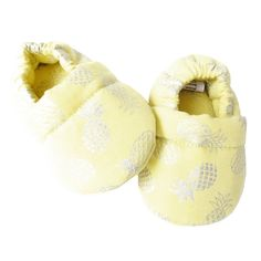 Baby Shoes, Boutique, Etsy, Kids, Voici, Yellow Fabric, Printed Cotton, Pineapple, Silver
