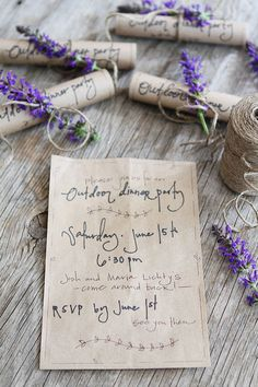 Dinner Party Invitations on twopeasandtheirpod.com - love the script and the fact that she used a brown paper bag