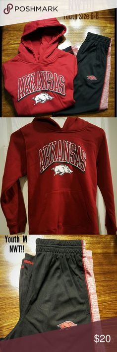 University of Arkansas hoodie/pants  NWT! Youth Size 8-10 hoodie and track pants. Brand new never worn licensed apparel. Cleaning out every closet in my house. Make an offer! Happy Poshing! Woo Pig!! Matching Sets