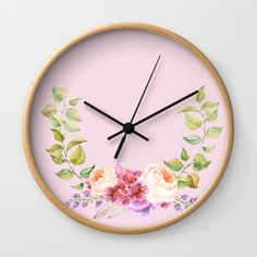 Watercolor flower Wreath on pink Wall Clock #decor, #style, #home, #interior, #design, #decoration, #room, #pillow, #living, #indoor, #elegant, #decorative, #background, #luxury, #cushion, #lifestyle, , #art, #color, #cushion, #duvet, #walltapestry, #society6, #utart, #betterhome