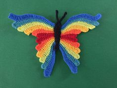 Learn how to make this crochet butterfly with my free crochet pattern and video tutorial at Kerri's Crochet. Crochet Butterfly Free Pattern, Crochet Unicorn Pattern, Owl Crochet Patterns, Crochet Sheep, Crochet Teddy Bear Pattern, Crochet Dragon, Applique Patterns, Crochet Motif, Crochet Animals