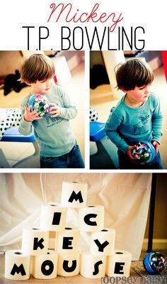 T.P. Bowling! Cute idea for kid's birthday party game.