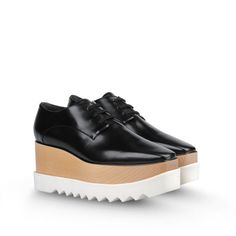 Stella McCartney - Britt Shoes -  layered platform wooden, black, lace up oxford
