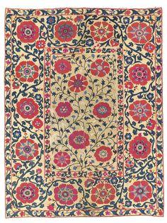 A SUSANI | BUKHARA REGION, UZBEKISTAN, 19TH CENTURY 77 ¼ x 58 ¼in. (196 x 148cm.) | Christie's Ikat Pattern, Textile Patterns, Textile Prints, Pattern Art, Abstract Pattern, Abstract Flower Art, Art Template, Weaving Art, Carpet Design