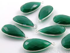 Natural Green Onyx Bezel Pear Shape Gemstone by Beadspoint on Etsy, $9.99