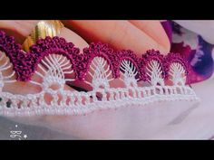 Beaded Crochet Lace on Skewers Model Making HD Quality Crochet Lace Edging, Crochet Borders, Irish Crochet, Crochet Stitches, Knit Crochet, Crochet Patterns, Creative Embroidery, Hand Embroidery, Crazy Quilt Stitches