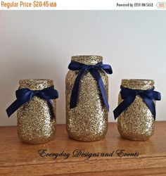 Black Gold Wedding 3 Navy Blue and Gold Mason Jars Wedding Centerpiece Decorations Party Birthday Navy Blue And Gold Wedding, Burgundy Wedding, Wedding Gold, Navy Gold, Diy Wedding, Wedding Flowers, Trendy Wedding, Wedding Ideas, Glitter Wedding