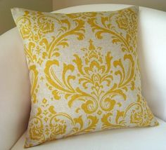 Decorative Pillow Cover Yellow on Linen Color, Accent Pillow, Throw Pillow, Cushion Damask 18 Inch