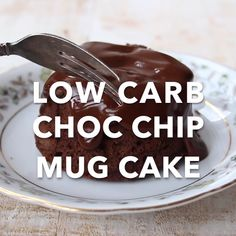 A moist and chocolatey keto mug cake made with coconut flour. Enjoy this cake straight out of the mug or transfer onto a plate and smother it with sugar free chocolate sauce! Low carb and gluten free. Chocolate Chip Mug Cake, Keto Chocolate Chips, Chocolate Mug Cakes, Low Carb Chocolate, Sugar Free Chocolate, Diabetic Chocolate, Dessert Chocolate, Chocolate Pudding, Low Carb Mug Cakes