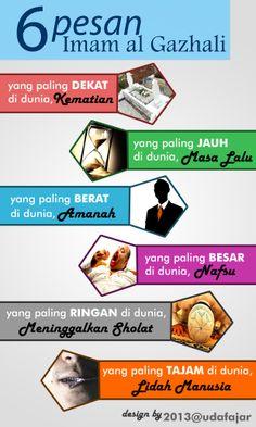 6 pesan Imam al Ghazali #infografik #islam #Muslim