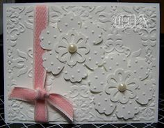 * Luv 2 Cre8 With U! * - Pretty white embossed card
