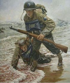 Sean Sullivan - D Day: Infantry Division was in the first wave of troops ashore during Operation Overlord at Omaha Beach while being the most difficult of the 5 landing beaches. Military Art, Military History, Omaha Beach, Military Drawings, American Soldiers, Panzer, Special Forces, Vietnam War, World War Ii