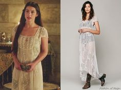 """In the episode 2x05 (""""Blood for Blood"""") Queen Mary wears this Free People Journey Embellished Slip Dress in Ivory. This dress is still avalable in black on the Free People's website here ($198)."""