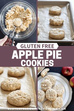 These gluten free apple pie cookies are a simple drop cookie with all the taste of apple pie, plus a little extra sweetness from white chocolate chips. Make these simple yet amazing cookies from scratch with this recipe! Gf Recipes, Fudge Recipes, Apple Recipes, Gluten Free Recipes, Pumpkin Recipes, Cake Recipes, Cooking Recipes, Apple Pie Cookies, Drop Cookies