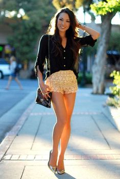 Club Outfits With Shorts | Lace club shorts outfits