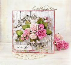 Klaudia / Kszp: Bryllup kort med en buket roser