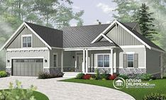 Craftsman Style Ranch House Plans Like the looks of the exterior Craftsman Style House Plans, Ranch House Plans, Craftsman Porch, Modern Craftsman, Craftsman Homes, Craftsman Exterior, Modern Farmhouse, House Paint Exterior, Exterior House Colors