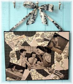 Can mod podge desk organizer and then use left over scrapbook paper to modge podge a canvas