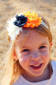 OKC Thunder basketball shabby flower headband, orange, blue, white, thunderbolt elastic, The Petunia Tree by ThePetuniaTree on Etsy