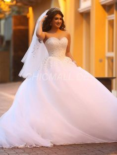 chicmall.de lieferungennatürliche hall glamourös & dramatische garten / im bodenlangen lace up schatz der kirche hochzeitskleid Prinzessin Brautkleider