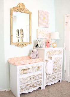 Scarlett's Coral, Mint, and Gold Vintage Lace Nursery