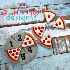 Pizza Counting Game Embroidery Design