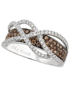 Le Vian Chocolate and White Diamond Crossover Ring in 14k White Gold (1-1/10 ct. t.w.) - Rings - Jewelry & Watches - Macy's