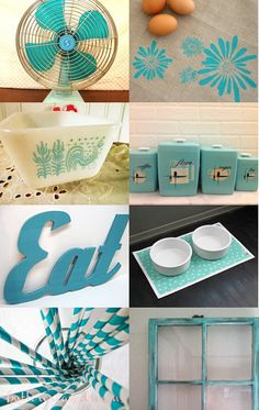 Turquoise & red kitchen Vintage Turquoise Kitchen @Alyssa Orbell DO YOU SEE THE ROOSTER FRIDGE CONTAINER...SEEEEEE IT?!!!!!
