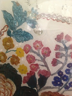 Detail: Reverse glass painting: vintage
