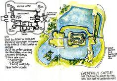 Day01_02a Caerphilly Castle Plan - http://www.lizsteel.com