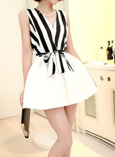 "Size: Bust: 90CM(35.43"" )   Waist: 76CM(29.92"" )  Length: 71CM(27.95"" )  Color: As picture   Heat: Strip Print  Sleeve: Sleeveless  Style: Cute/Sexy  V-neckline. Sleeveless. Strip print bodice with a white bubble skirt. Bowknot at the waist. In this dress, you will look more cute and se..."