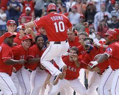 This picture is one of those pictures where you can capture the moment and it pretty much speaks for itself. Michael Young is arguably my favorite baseball player and he just won the game for the Rangers, my favorite baseball team.