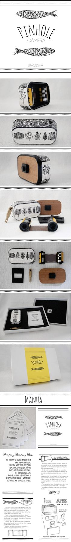 Pinhole camera made ​​from a can of sardines; development of an illustrated manual and packaging.