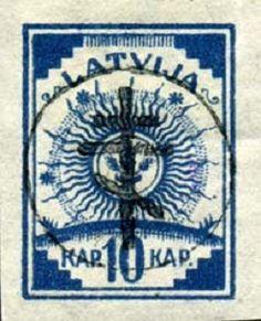 0 октября 1919г. в Елгаве были выпущены почтовые марки Западной добровольческой армии Авалова-Бермондта. Для выпуска этих марок использовались первые Латвийские марки и марки царской России, на которых были сделаны  надпечатки.