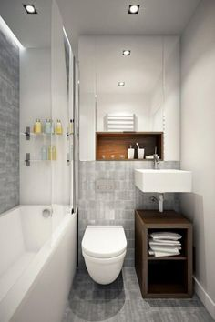 The layout of a small bathroom requires great ideas. Looking for small bathroom inspiration for you tiny house?Discover below examples to help you build a cozy small bathroom. Trendy Bathroom, Compact Bathroom, Tiny Bathrooms, Small Bathroom Decor, Minimalist Bathroom, Small Remodel, Bathroom Renovation, Bathroom Inspiration, Small Bathroom Remodel