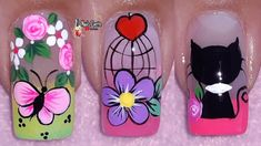 Flower Nail Designs, Colorful Nail Designs, Flower Nails, Manicure And Pedicure, Summer Nails, Nail Colors, Lily, Nail Art, Margarita